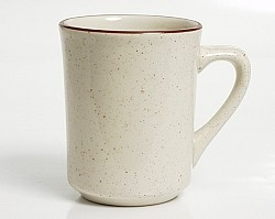 8 oz Amerian White w/ Brown Speckle Tiara Mug (per dozen)