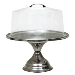 Plastic Cake Stand Cover with Chrome Handle